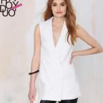 เสื้อสูทแขนกุดสีขาวเก๋ๆ