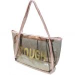 [ พร้อมส่ง ] - กระเป๋าแฟชั่น สไตล์เกาหลี สีชมพูอ่อน ทรง Shopping Bag สกรีน TOUGH แบบใส แฟชั่นรับหน้าฝน