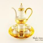 ของขวัญปีใหม่ให้ผู้ใหญ่ ชุดน้ำชาเบญจรงค์ ทรงสุโขทัย ขนาดกลาง สีเบญจรงค์ทองสร้อยลายโบตั๋น ลายเนื้อนูนเคลือบเงา