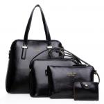 [ พร้อมส่ง Hi-End ] - กระเป๋าแฟชั่น นำเข้าสไตล์เกาหลี Set 4 in 1 สีดำคลาสสิค ดีไซน์แบรนด์ดังแบบยุโรป งานหนังคุณภาพ แบบสวยเรียบหรู ดูไฮโซสุดๆน่าใช้ คุ้มค่ามากๆค่ะ