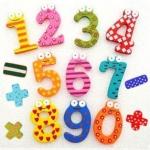 ของเล่นไม้ ตัวเลขแม่เหล็กแฟนซี 0-9 และสัญญลักษณ์ รวม 15 ชิ้น