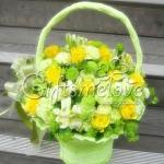 กระเช้าดอกไม้สีเหลื่อง การเริ่มต้นที่สดใส