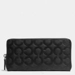 กระเป๋าสตางค์ผู้ชาย COACH Accordion Zip Wallet in Op Art Embossed Leather F74802