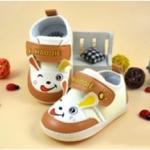 รองเท้าคัชชูผ้าเด็กอ่อน สีน้ำตาลรูปกระต่ายยิ้ม Size 14