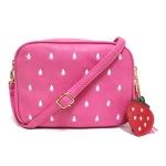 [ พร้อมส่ง ] - กระเป๋าแฟชั่น กระเป๋าสะพาย สีชมพูบานเย็น ใบเล็ก เย็บลายสตอเบอรี่ สุดฮิตหนังสวย มีสายสะพายยาวปรับระดับได้ค่ะ