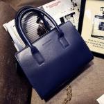 [ พร้อมส่ง ] - กระเป๋าแฟชั่น นำเข้าสไตล์เกาหลี สีน้ำเงิน ใบกลาง ดีไซน์สวยเก๋ๆ เหมาะสำหรับทุกโอกาสการใช้งาน สาวๆ ห้ามพลาดค่ะ