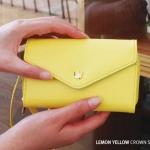 [ พร้อมส่ง ] - กระเป๋าสตางค์แฟชั่น สไตล์เกาหลี สีเหลืองเลมอน ใบยาว(รุ่นใหม่) แต่งมงกุฎ งานสวยน่ารัก น่าใช้มากๆค่ะ สำเนา