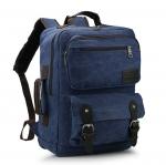 [ พร้อมส่ง ] - กระเป๋าเป้ ผู้ชาย-หญิง ดีไซน์เท่ ๆ สีน้ำเงิน ใบใหญ่จุใจ ช่องใส่ของเยอะ ใส่ Notebook I-Pad ได้ เหมาะสำหรับพกพา