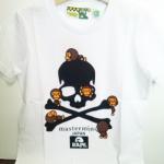 HK brand BAPE ape T-shirt เสื้อยืดแขนสั้น ผ้าคอตตอน สีขาว ( Size 130 )