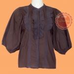 ขายแล้วค่ะ T110:2nd hand top เสื้ิอสีน้ำตาล ติดลูกไม้ที่คอเสื้อและหน้าอก แขนพองๆ น่ารัก (ผูกโบว์ด้านหลัง)&#x2764