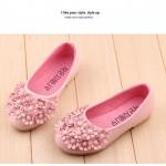 รองเท้าคัชชูเด็กหญิง สีชมพู พุ่มช่อดอกไม้ Size 21-36