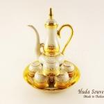 ของขวัญปีใหม่ ชุดน้ำชาเบญจรงค์ ทรงอรชอนลวดลายเบญจรงค์ทองสร้อย ลายโบตั๋นเนื้อนูนเคลือบเงา