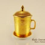 ของขวัญปีใหม่ให้ผู้ใหญ่ แก้วมัคลวดลายเบญจรงค์สีทองเต็มใบ ลายนูนเคลือบเงา