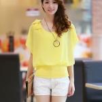 (Pre-order)เสื้อแขนระบายผ้าชีฟองสีเหลือง