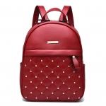 [ พร้อมส่ง ] - กระเป๋าเป้แฟชั่น สไตล์ยุโรป สีแดงเข้ม ปักหมุดเก๋ๆ ดีไซน์สวยเรียบหรู งานหนังคุณภาพ เหมาะสำหรับสาวๆ ที่ชอบงานมีสไตล์เป็นของตัวเอง
