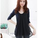 (Pre order)เสื้อแขนยาวแฟชั่นเกาหลีสีดำ