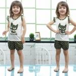 ชุดเสื้อแขนกุด+กางเกงขาสั้นเด็กหญิง ลาย pot-a-dot แมวดำ size 90 100 110 120 130