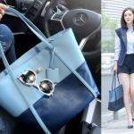 [ พร้อมส่ง ] - กระเป๋าแฟชั่น สะพายไหล่ ทูโทนสีฟ้า สไตล์ซีรีย์เกาหลี ทรง Shopping Bag ใบใหญ่ ดีไซน์เรียบหรู แบบสวยเก๋ ไม่ซ้ำแบบใคร