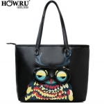 [ พร้อมส่ง Hi-End ] - กระเป๋าแฟชั่น HowRU สีดำ พิมพ์นกฮูกหน้า ทรง Shopping bag หนังมันใบใหญ่ Design เก๋ ใช้งานง่าย ใครเห็นเป็นหลงรัก