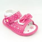 รองเท้าเด็กหญิงรัดส้น สีชมพูลายจุดขาวน่ารัก Size 14(เท้ายาว 11 ซม.)