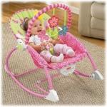 เปลโยก สั้นได้ มีเสียงเพลง สีชมพู Jolly Baby รุ่น Infant-to-Toddler Rocker