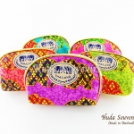 ของที่ระลึกไทย กระเป๋าผ้าลายไทย ขอบทอง (ขนาด: ขอบทอง S) ลายช้างหวาน หนึ่งโหลคละสี จำหน่ายยกโหล สินค้าพร้อมส่ง