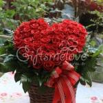 กระเช้าดอกกุหลาบรูปหัวใจ โปรโมชั่นพิเศษ