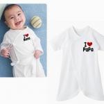 [แพค 2 ชุด] ชุดเด็กทารก รุ่นเนื้อผ้าหนานุ่ม I LOVE PAPA & MAMA ใส่อุ่นมาก