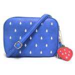 [ พร้อมส่ง ] - กระเป๋าแฟชั่น กระเป๋าสะพาย สีน้ำเงิน ใบเล็ก เย็บลายสตอเบอรี่ สุดฮิตหนังสวย มีสายสะพายยาวปรับระดับได้ค่ะ