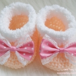 รองเท้าบู๊ทสั้น (สีส้มโอรส + โบว์ลายจุดสีชมพู)