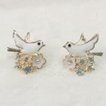 ต่างหูรูปนก ประดับเพชรและดอกไม้ (Bird & Flowers Earrings)