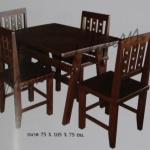 รหัส Maisak00194 ชุดโต๊ะกินข้าวไม้สัก 75X105X75 ซม.  เก้าอี้ กว้าง 37 ซม. ยาว 37 ซม. สูง 95 ซม. โต๊ะกลาง กว้าง 75 ซม. ยาว 105 ซม. สูง 75 ซม.