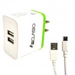 CLASIO Adapter ชาร์ตไฟ + หัวไมรโคร สำหรับแท็บเล็ต มือถือ 2.4 A Adapter (2 USB Output) ประกัน 6 เดือน