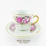 ของที่ระลึก แก้วกาแฟเบญจรงค์ ทรงกลม ลวดลายดอกกุหลาบ เคลือบมุข สินค้าพร้อมส่ง (ราคาไม่รวมกล่อง)