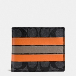 กระเป๋าสตางค์ผู้ชาย COACH COMPACT ID WALLET IN VARSITY SIGNAURE F75426 : CHARCOAL/ORANGE