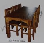 รหัส Maisak00196 ชุดโต๊ะกินข้าวไม้สัก 90X150X80 ซม. เก้าอี้ กว้าง 37 ซม. ยาว 37 ซม. สูง 95 ซม. โต๊ะกลาง กว้าง 90 ซม. ยาว 150 ซม. สูง 80 ซม.