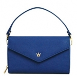 [ พร้อมส่ง ] - กระเป๋าสตางค์แฟชั่น สไตล์เกาหลี สีน้ำเงินเข้ม ใบใหญ่(รุ่นใหม่หนังสวย) แต่งมงกุฎ งานหนังอัดลายสวยน่ารัก น่าใช้มากๆค่ะ