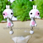 ต่างหูดินปั้น กระต่ายสีขาวแต้มชมพู Bunny pink & white Earrings