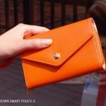 [ พร้อมส่ง ] - กระเป๋าสตางค์แฟชั่น สไตล์เกาหลี สีส้มสุดจี๊ด ใบยาว(รุ่นใหม่) แต่งมงกุฎ งานสวยน่ารัก น่าใช้มากๆค่ะ