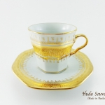ของที่ระลึก แก้วกาแฟเบญจรงค์ ทรงเหลี่ยมลวดลายโบตั๋นทองสร้อย ลายน้ำทองเคลือบเงา