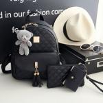 [ พร้อมส่ง ] - กระเป๋าเป้แฟชั่น Set 3 ชิ้น สุดคุ้ม สีดำคลาสสิค เย็บตาราง ดีไซน์สวยเก๋ งานหนังคุณภาพอย่างดี น่าใช้มากค่ะ