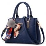 [ พร้อมส่ง ] - กระเป๋าแฟชั่น ถือ/สะพาย สีน้ำเงินเข้ม ทรงตั้งได้ ดีไซน์สวยเรียบหรู ดูดี งานหนังคุณภาพ เหมาะทุกโอกาสการใช้งาน