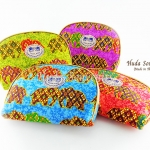 ของที่ระลึกไทย กระเป๋าผ้าลายไทย ขอบทอง (ขนาด: ขอบทอง L) ลายช้างหวาน หนึ่งโหลคละสี จำหน่ายยกโหล สินค้าพร้อมส่ง