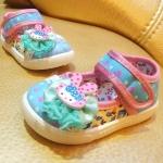 รองเท้าคัชชูผ้าเด็กเล็ก สีฟ้าชมพูหวาน Kitty (เท้ายาว 11-14 ซม.)