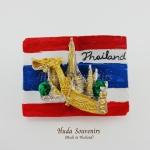 แม่เหล็กติดตู้เย็น ลวดลายเรือสุพรรณหงส์และวัดอรุณ พื้นหลังสีธงชาติไทย