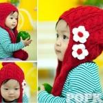 หมวกไหมพรมเด็ก กันหนาว ติดดอกไม้น่ารัก มีสายยาวปิดหูเป็นผ้าพันคอ (2y++)