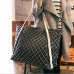 [ พร้อมส่ง ] - กระเป๋าแฟชั่น นำเข้าสไตล์เกาหลี สีดำ เย็บลายตาราง ใบใหญ่มากๆ ดีไซน์สวยเก๋ ทรง Shopping น่าใช้มากค่ะ