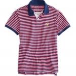 เสื้อโปโลผู้ชาย American Eagle STRIPED JERSEY POLO - PINK