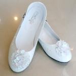 รองเท้าคัทชูออกงานเด็กหญิง หนังแก้วสีขาว Size 25 ถึง 36 หมุนเก็บสายรัดข้อเท้าได้