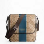 พร้อมส่ง กระเป๋าผู้ชาย COACH HERITAGE STRIPE MAP BAG F70757 : KHAKI BLUE